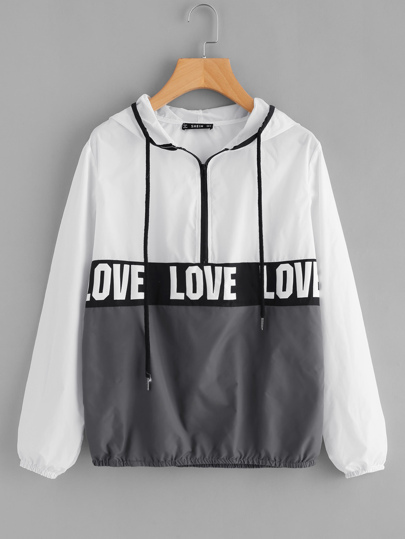 Zip Front LOVE Print Windbreaker Hoodie Jacket