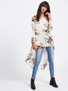 Botanical Print High Low Blouse