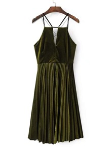 Cross Back Pleated Velvet Cami Dress