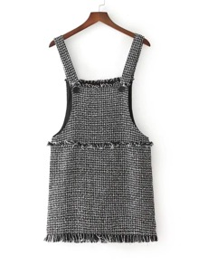 Fringe Edge Tweed Dungaree Dress