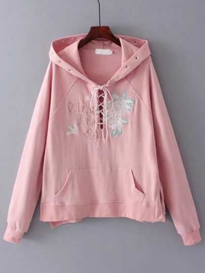 Eyelet Detail Kangaroo Pocket Lace Up Hoodie