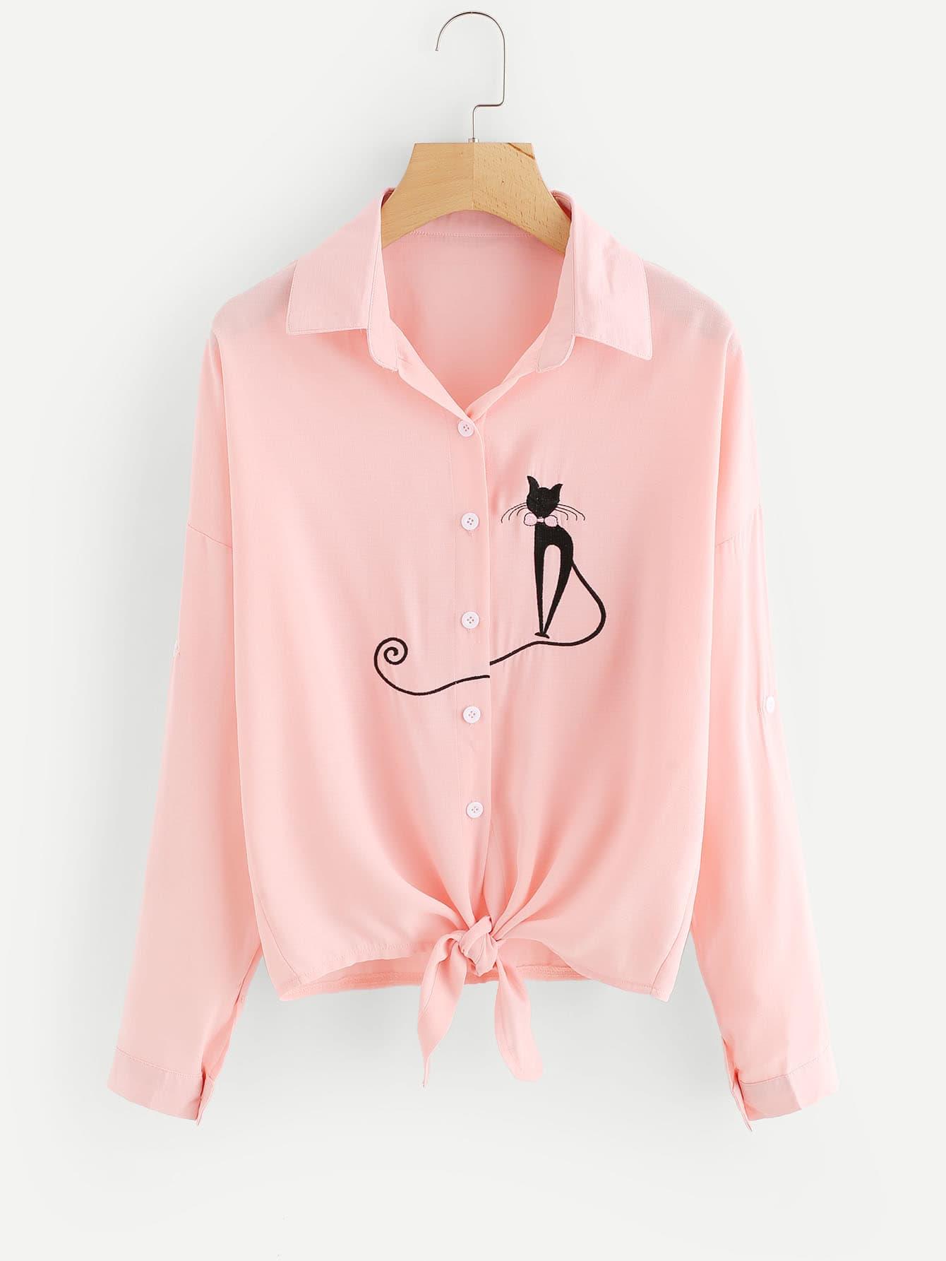 Cat Embroidered Drop Shoulder Knotted Hem Shirt two tone drop shoulder sweatshirt
