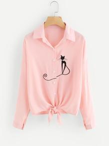 Cat Embroidered Drop Shoulder Knotted Hem Shirt