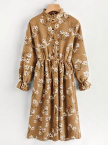 Модное вельветовое платье с цветочным принтом