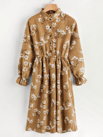 Floral Print Random Corduroy Dress