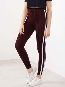 Striped Sideseam Drawstring Leggings
