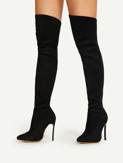 Pointed Toe Stiletto Heeled Thigh High Boots