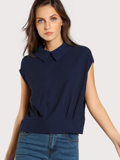 Zip Up Collared Sleeveless Top BLUE