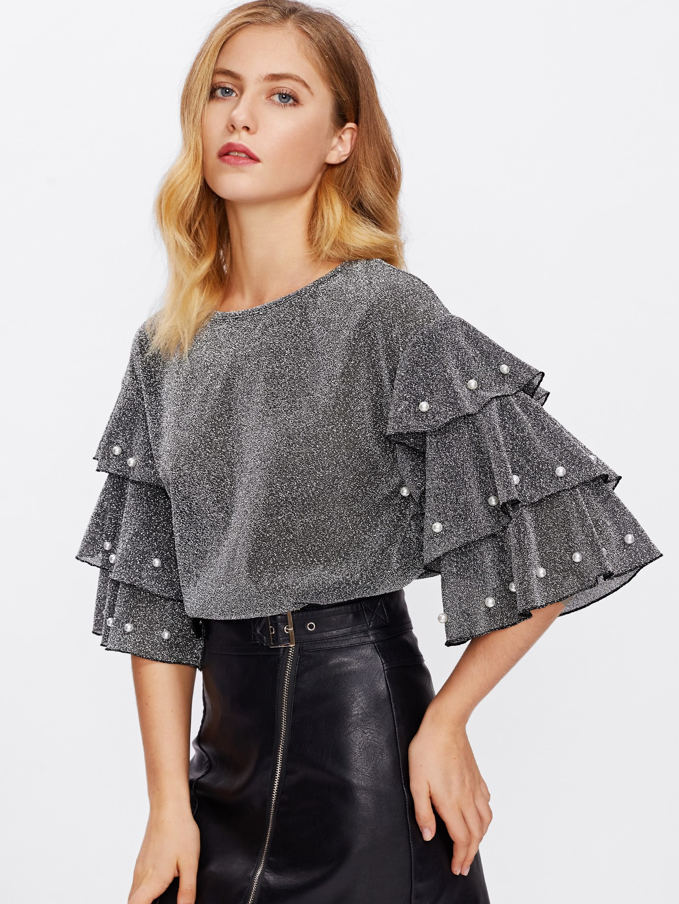 Pearl Beading Tiered Sleeve Glitter Top pearl beading layered sleeve top