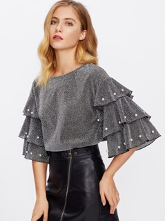 Faux Pearl Beading Tiered Sleeve Glitter Top