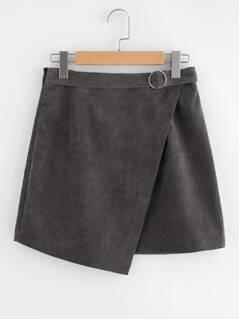 O-Ring Belt Detail Cord Wrap Skirt