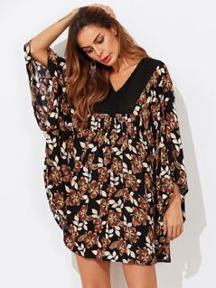 Crochet Yoke Flower Print Batwing Dress