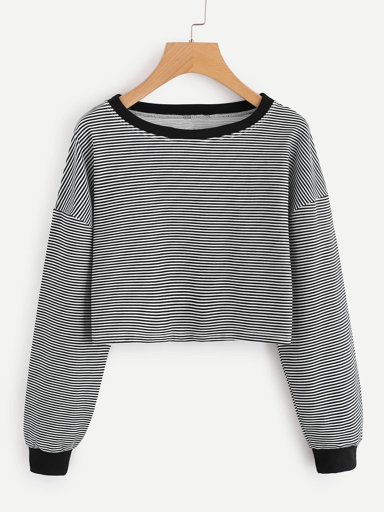 Contrast Trim Drop Shoulder Striped Crop Pullover drop shoulder scalloped trim crop sweatshirt