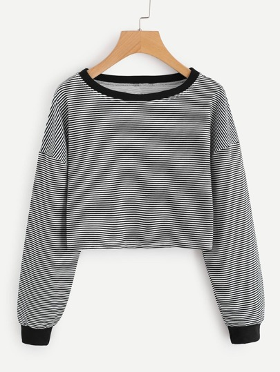 Contrast Trim Drop Shoulder Striped Crop Pullover