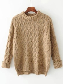 High Low Cable Knit Jumper