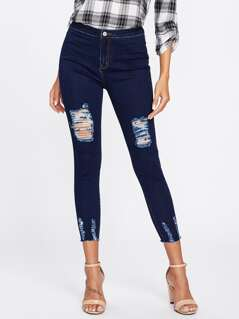 Dark Wash Shredded Skinny Jeans