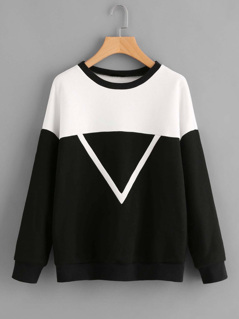 Woven Tape Detail Two Tone Pullover