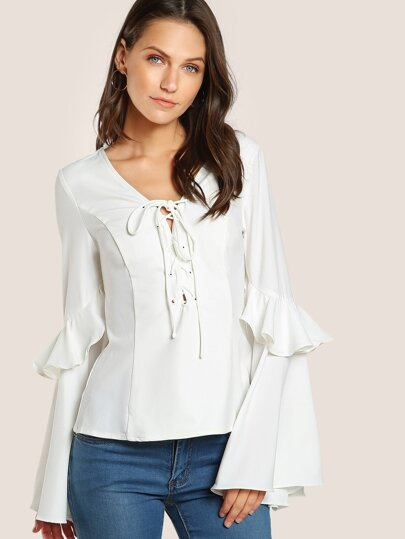 Front Lace Up Trumpet Sleeve Top WHITE