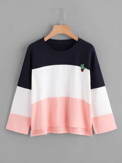 Cactus Embroidered Patch Color Block T-shirt