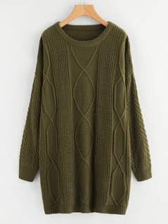 Drop Shoulder Mixed Knit Sweater Dress