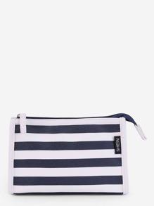 Block Striped Zipper Clutch Bag