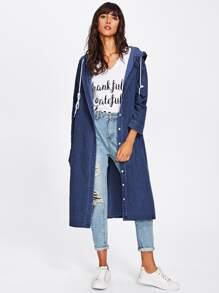 Hooded Side Split Long Denim Coat