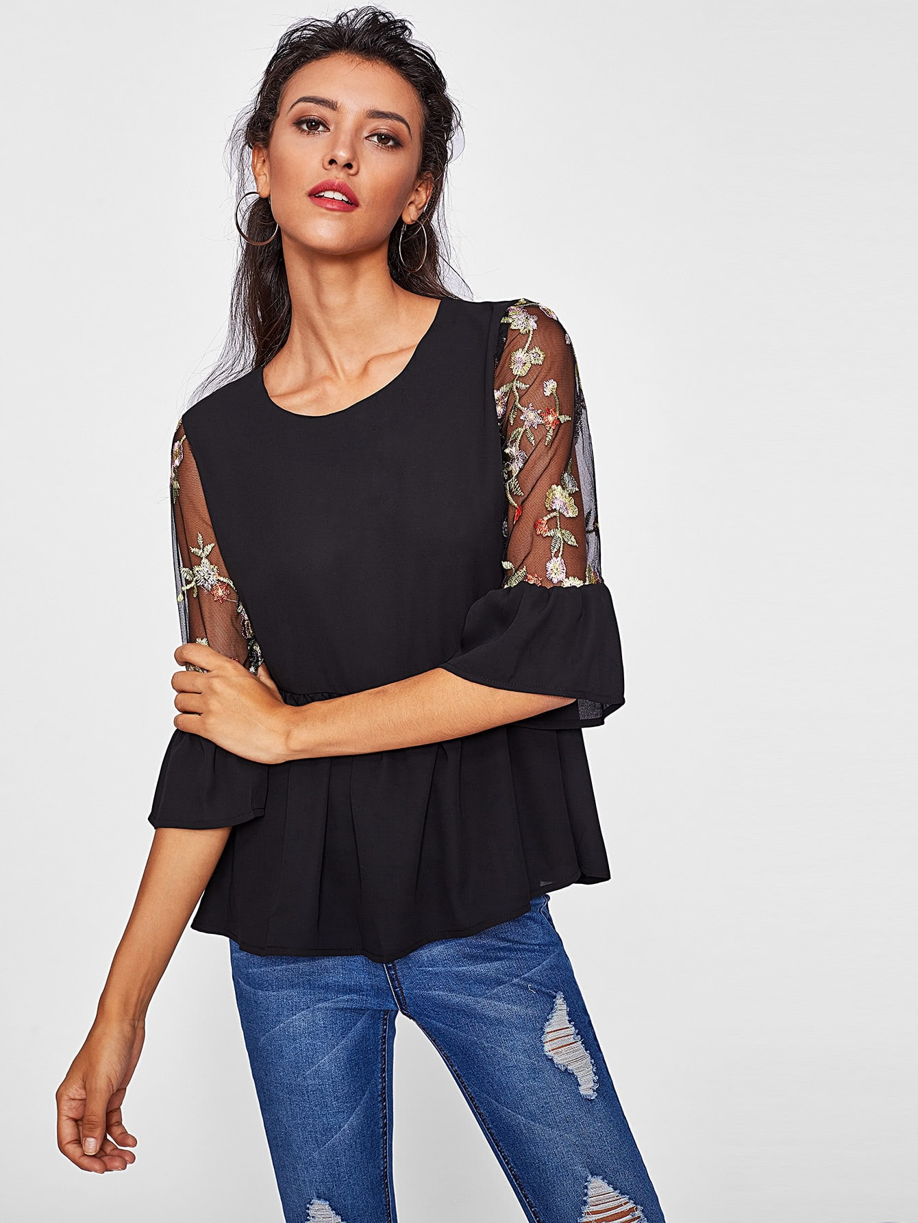 Contrast Embroidery Mesh Sleeve Frill Trim Top