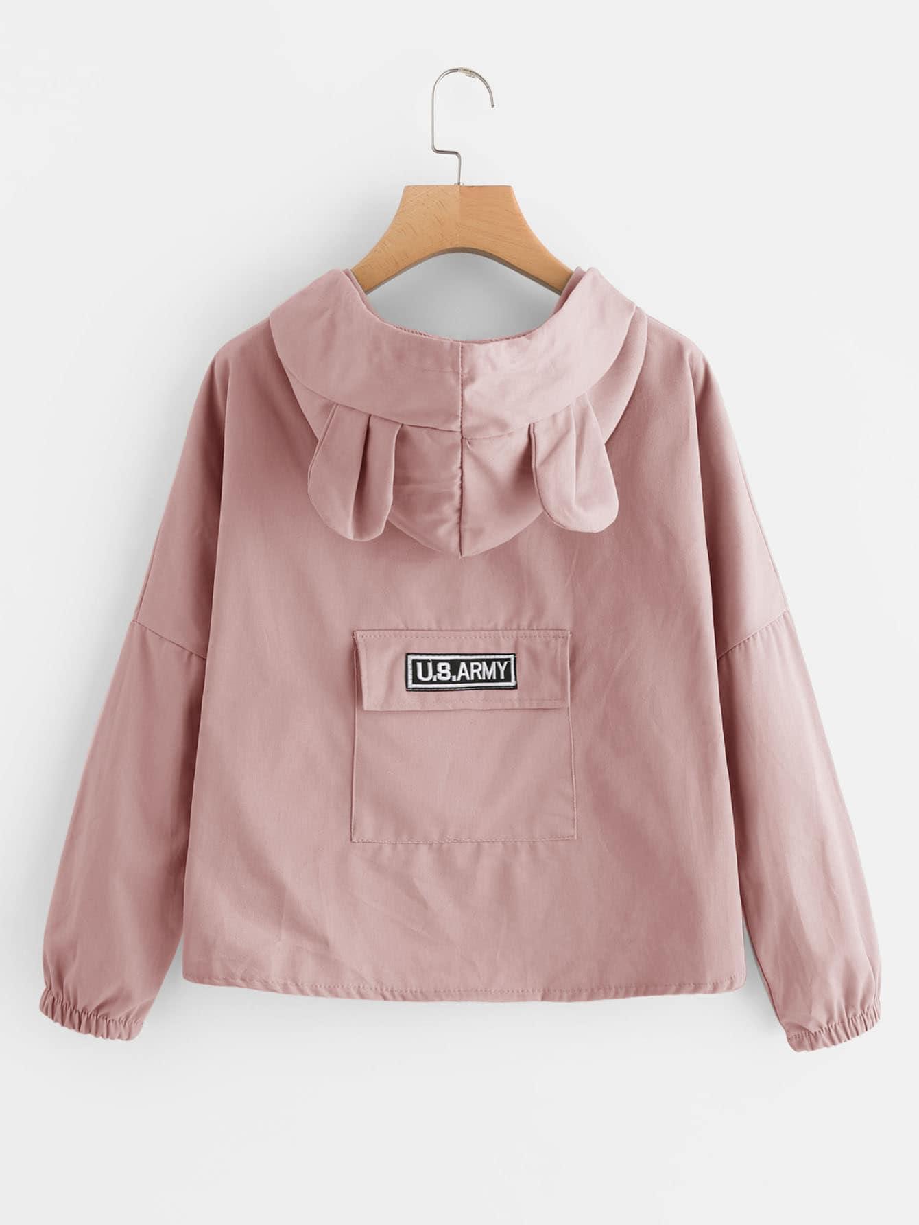 Drop Shoulder Bear Ear Hooded Jacket two tone drop shoulder sweatshirt