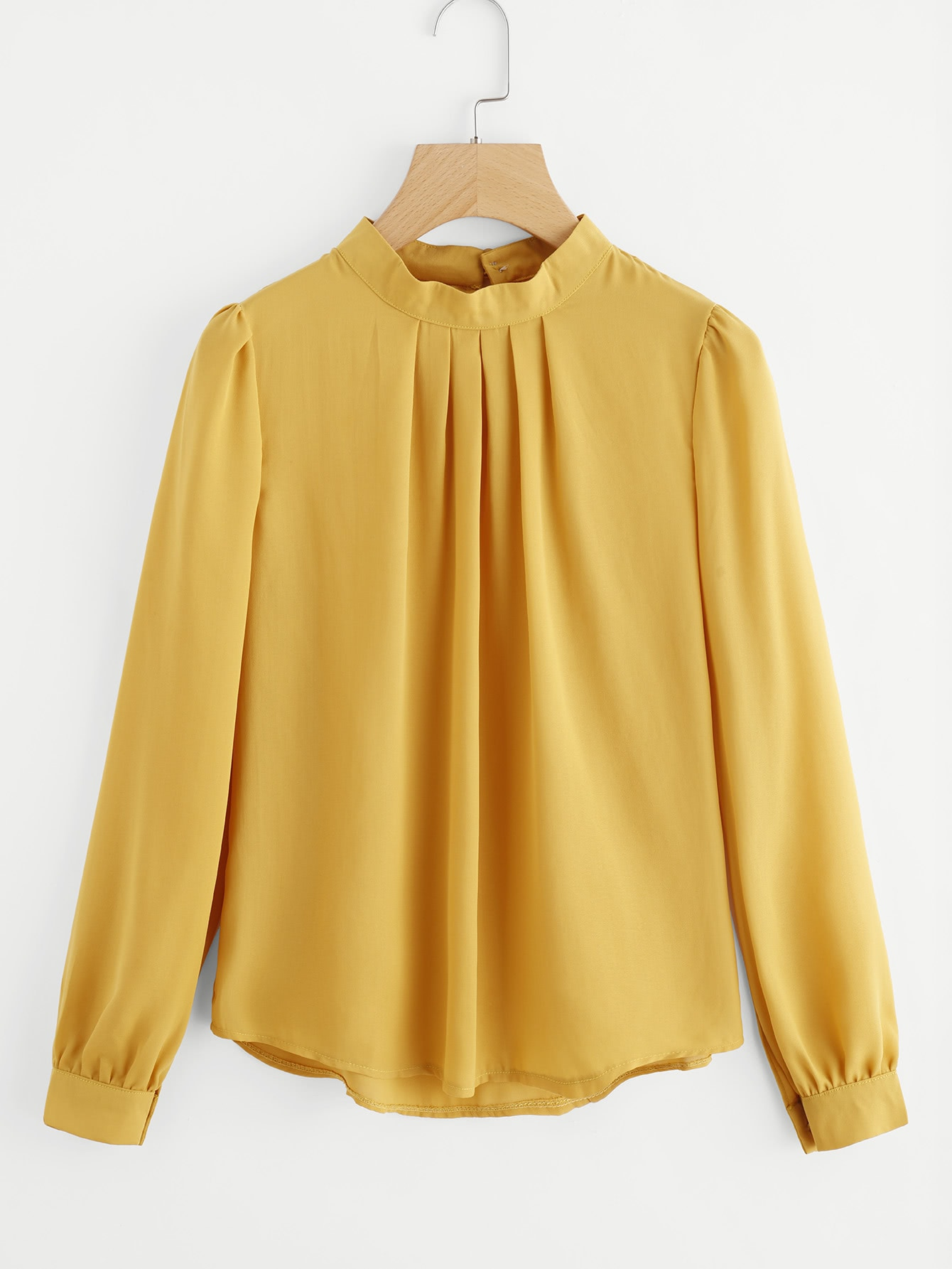 Pleated Detail Button Keyhole Back Chiffon Blouse pleated button collar blouse