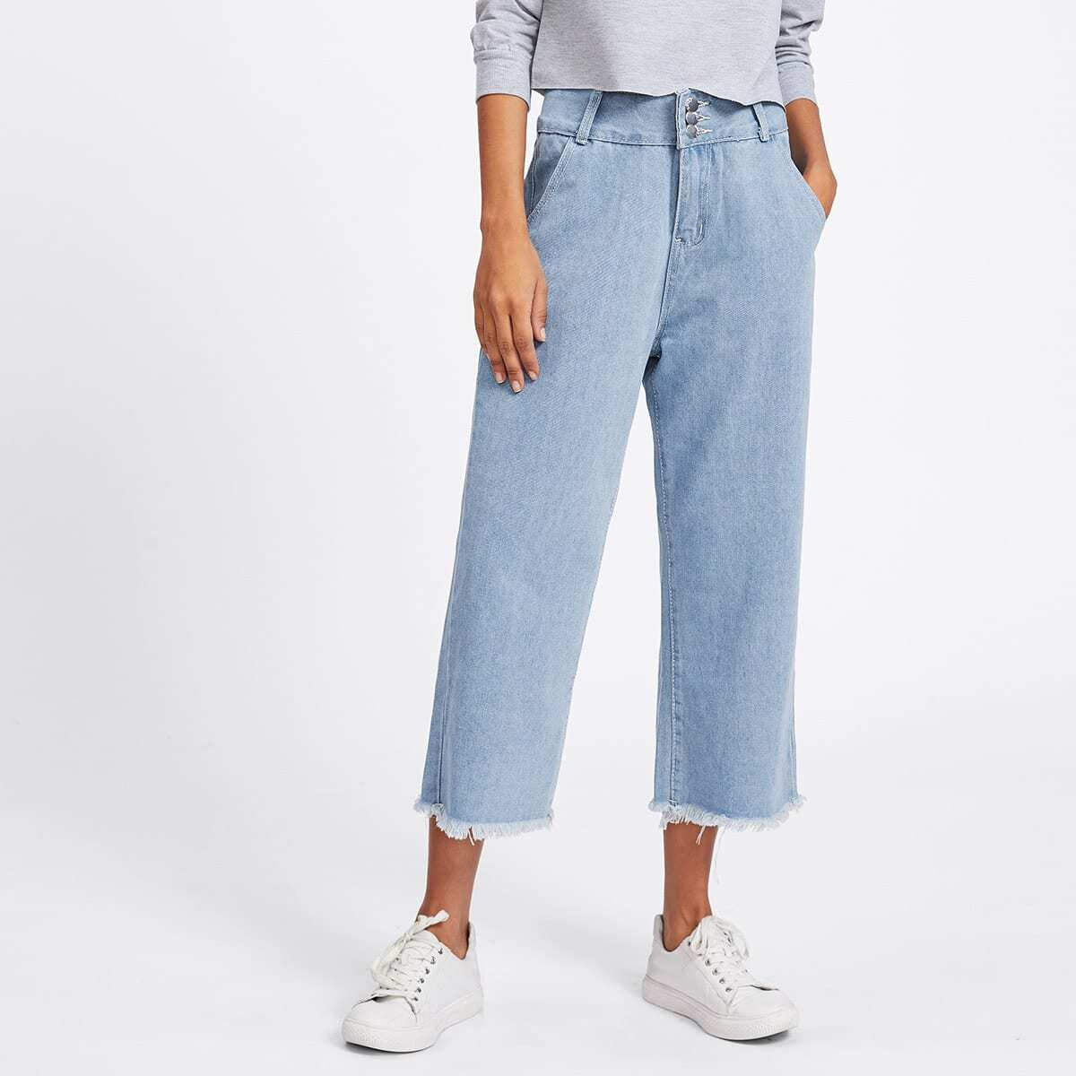 Lichte jeans met brede pijpen