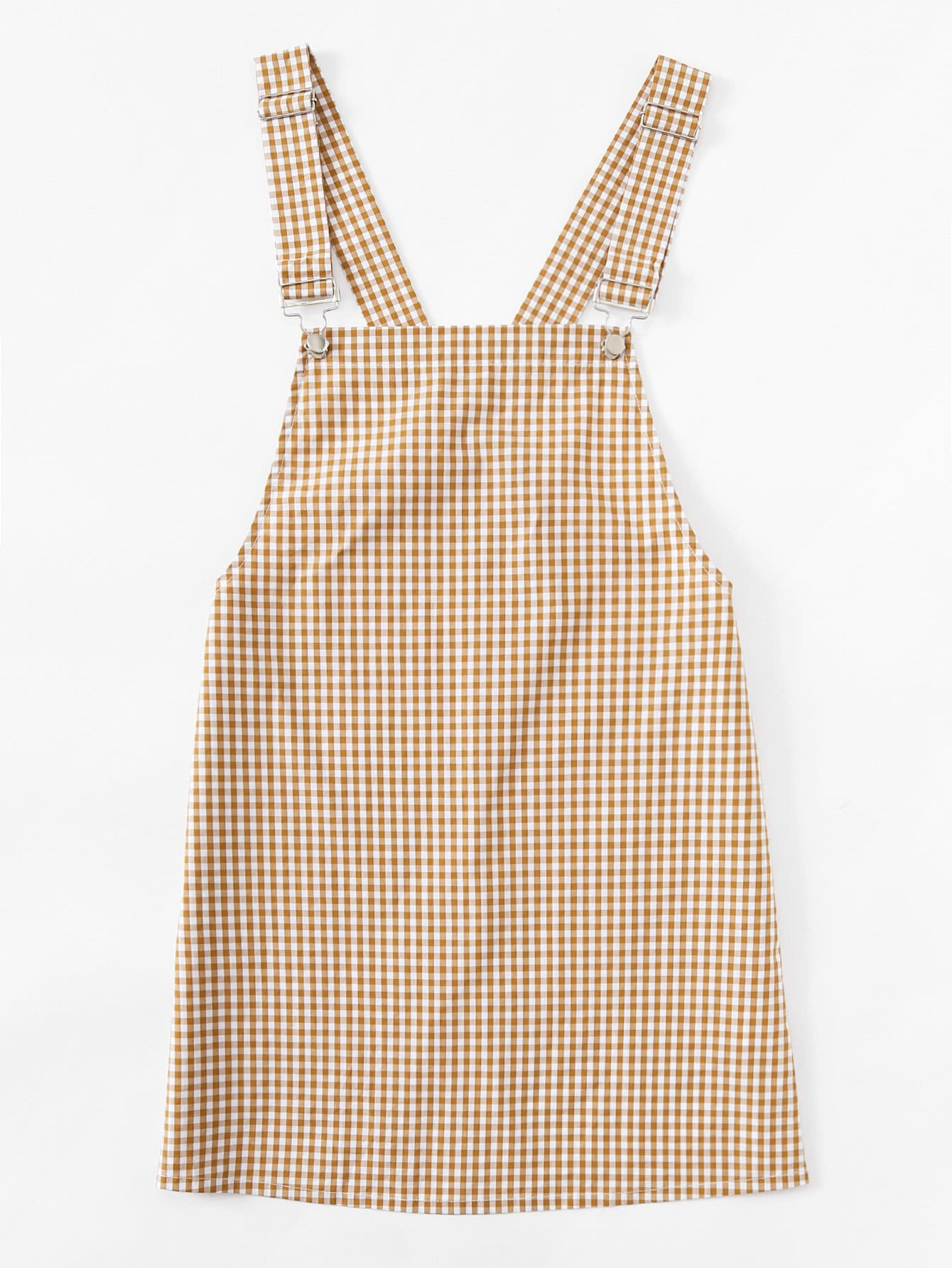 Detachable Strap Gingham Pinafore Dress Shein Sheinside