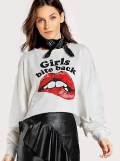 Girls Bite Back Crop Sweatshirt WHITE
