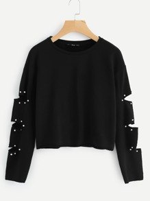 Pearl Beading Ripped Sleeve Pullover