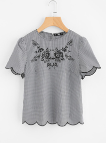 Scallop Edge Embroidered Gingham Top