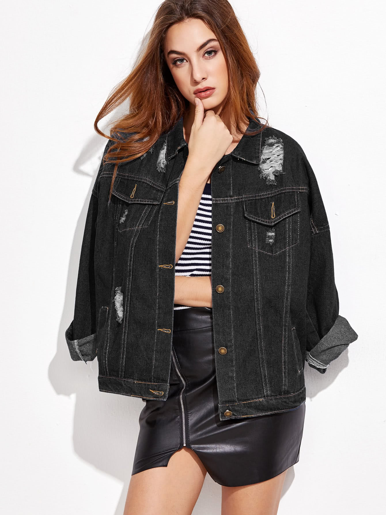 Ripped Drop Shoulder Stitch Detail Denim Jacket drop shoulder grommet tie detail sweatshirt
