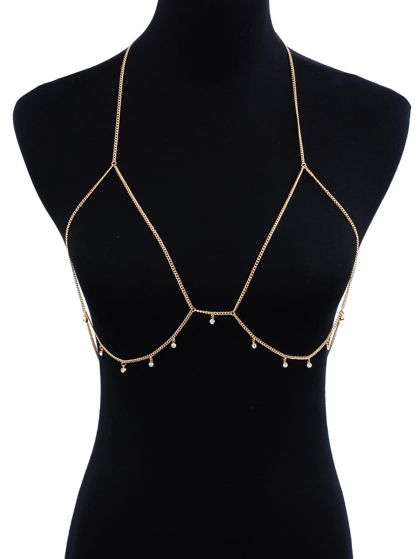 Rhinestone Detail Bralet Body Chain