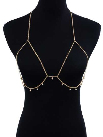 Rhinestone Detail Bralet Body Chain