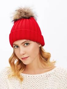 Knit Faux Fur Pom Beanie