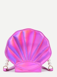 Bandolera de pu en forma de concha con detalle de perla de imitación