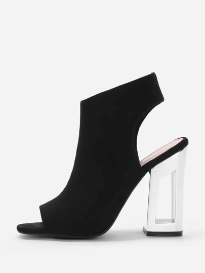 Peep Toe Side Zipper Block Heeled Shoes