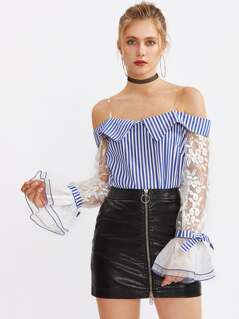 Embroidered Mesh Sleeve Top With Transparent Straps