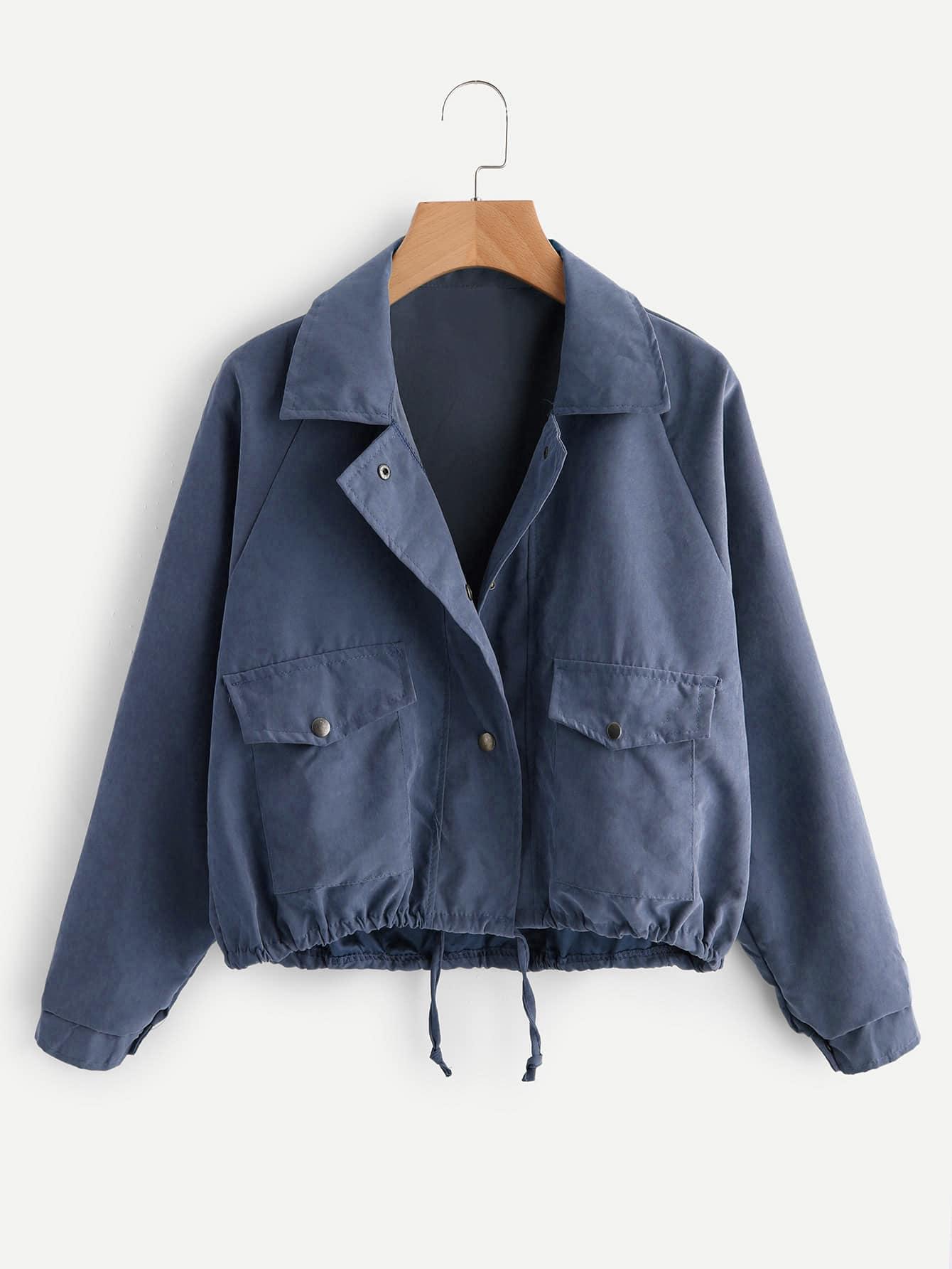 Drawstring Hem Double Pockets Jacket