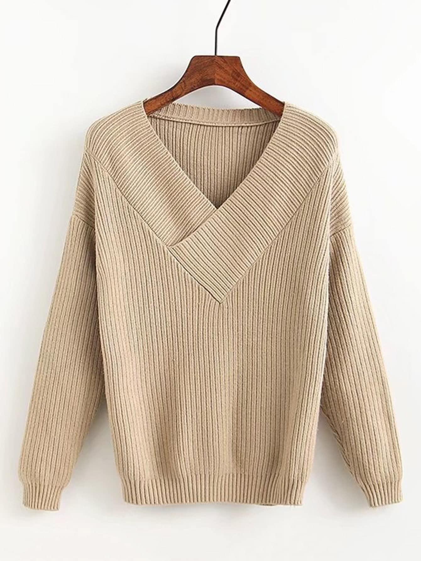 Surplice V Neck Ribbed Knitwear sweater170914204