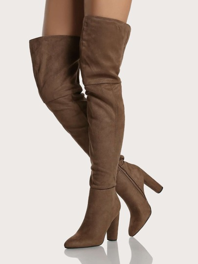 Pointy Toe Cylinder Heel Thigh High Boots DARK TAUPE