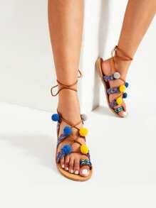 Toe Ring Tie Leg Flat Sandals