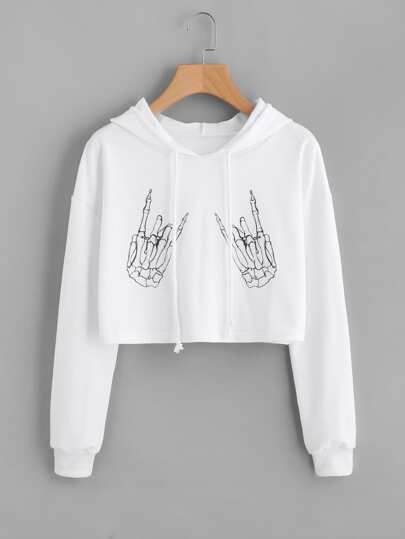 Drop Shoulder Skeleton Hands Printed Crop Hoodie