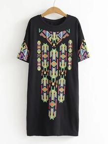Geometric Pattern Tee Dress