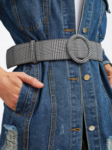 Circle Buckle Plaid Belt