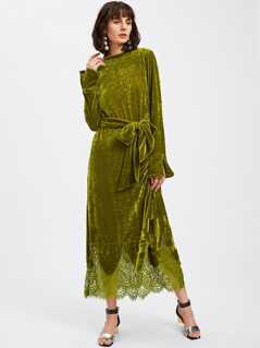 Lace Hem Self Tie Velvet Dress
