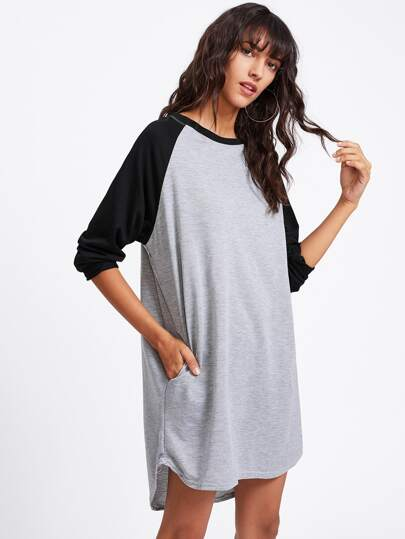 Contrast Raglan Sleeve Dip Hem Tee Dress